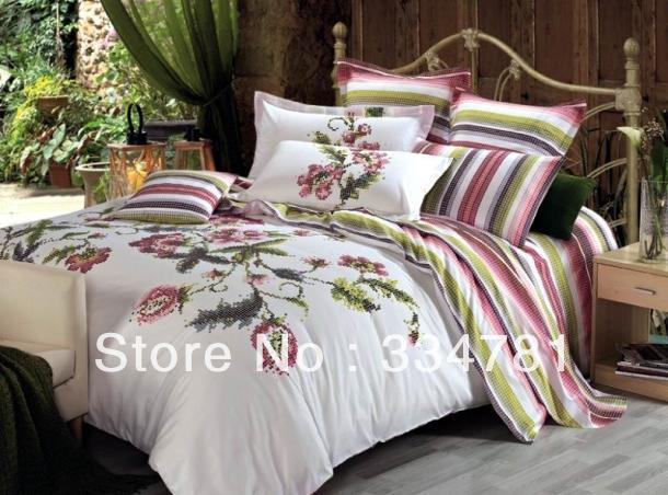Hot Beautiful 100% Cotton 4pc Doona Duvet QUILT Cover Set bedding set Full / Queen King siz colorful white flowers OP-95 - jiagen chen's store