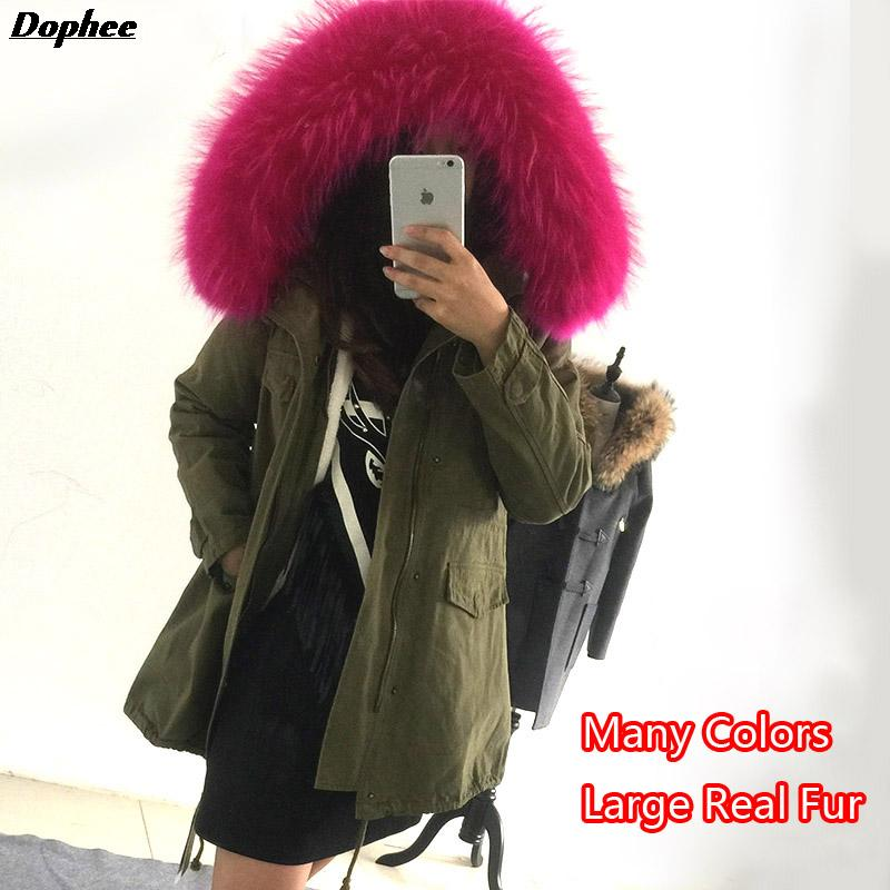 2017 New Thick Warm Winter Jackets Women'S Long Slim Cotton Jacket Coats For Women With Large Real Raccoon Fur Collar Hooded high end winter women jacket warm hooded coats 2018 new thick fox fur collar slim long coats casual cotton leather jackets 5xl