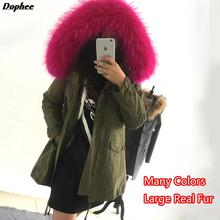 2017 New Thick Warm Winter Jackets Women'S Long Slim Cotton Jacket Coats For Women With Large Real Raccoon Fur Collar Hooded