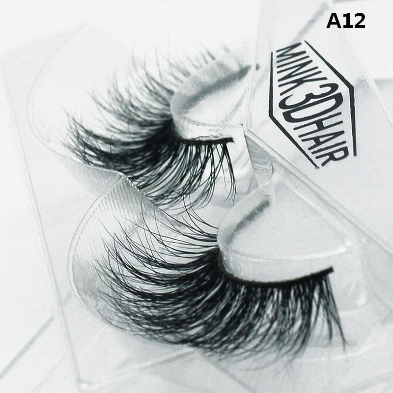 1 pair 3D Handmade Mink Eyelashes individual Natural False ...