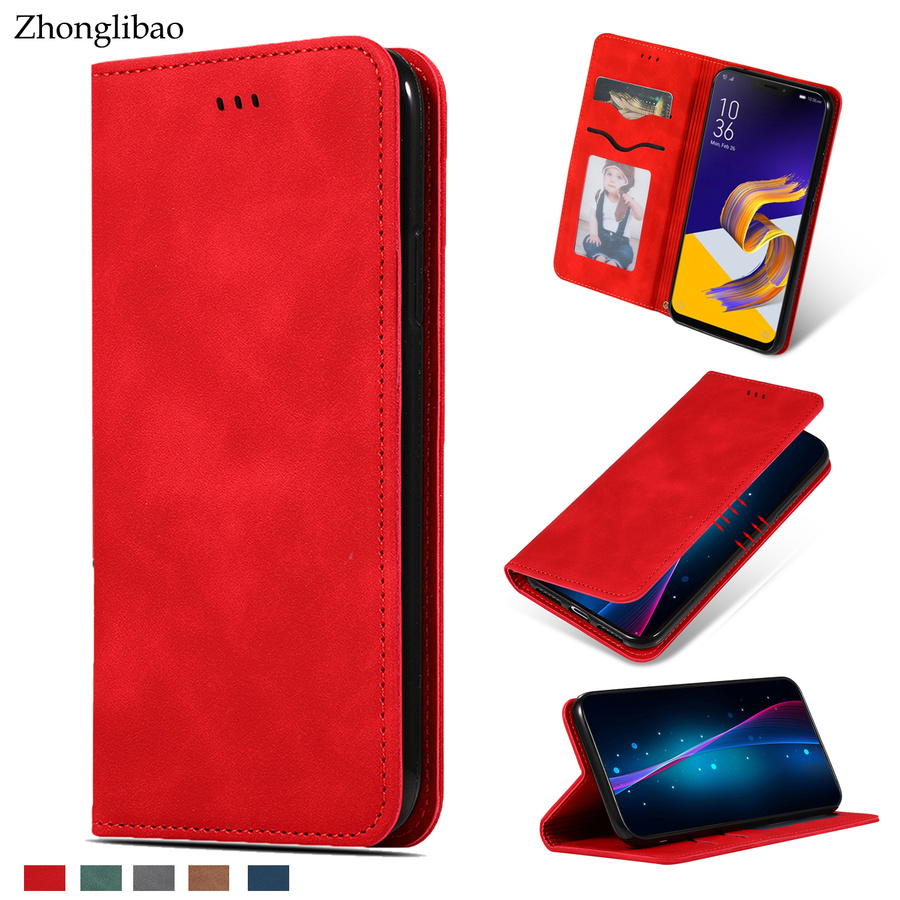 Luxury Flip Case for <font><b>ASUS</b></font> <font><b>Zenfone</b></font> <font><b>5</b></font> <font><b>Ze620KL</b></font> ZS620KL4 ZC554KL Soft Leather Silicone Magnetic Card Holder Wallet Stand Book Cover image