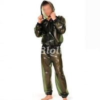 Latex Rubber Gummi Men Fashion Hooded Jacket And Pants Suit Metal Green XXS XXL