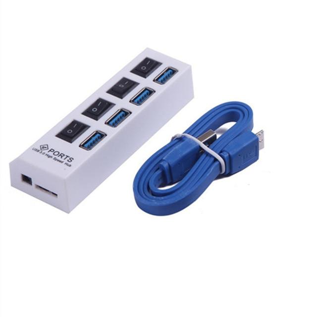 4-Port Super Speed USB 3.0 Hub de alta Qualidade Individual com Ligar e Desligar Interruptores Com Cabo de Dados