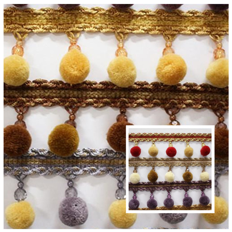 2018 Small Pom-pom Fringe Curtain Sheer Drapery Pillows Valance Decorative Accessories 7 cm Wide 10 colors Sell by 12 m per bale