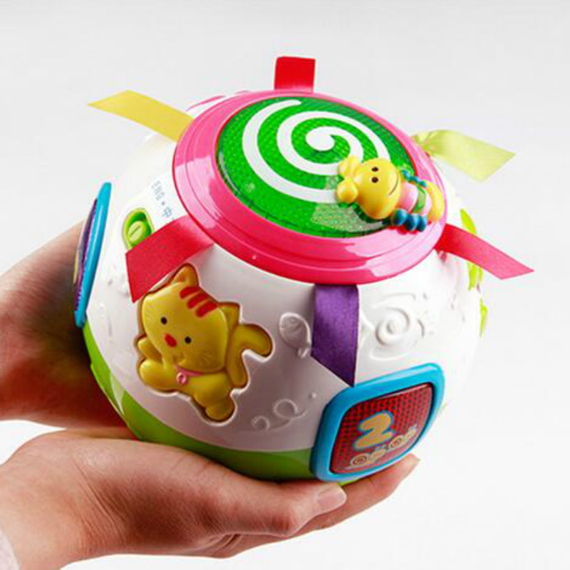 Baby puzzle toy naughty spin ball electric music light multifunctional children interaction balance cubes toys