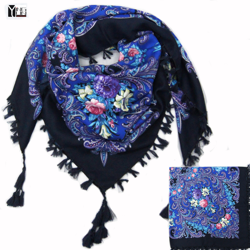 2017 Hot Sale New Fashion Woman Scarf Square Scarves Short Tassel Floral Printed Women Wraps Winter Lady Shawls Free Shipping-03
