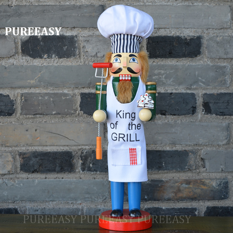 Christmas Decorations For Home Nutcrackers Wood Puppet Christmas Kandy Chef Nutcrackers Statues Crafts Christmas Gift