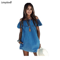 2018 Women Dress New Fashion Designer Loose Slash Neck Jeans Dresses Summer Casual Sleeveless Ladies Elegant