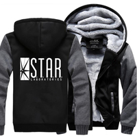 Super Hero The Flash STAR S T A R Labs Sweatshirts Men 2017 Winter Warm Fleece