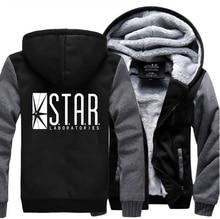 Super Hero The Flash STAR S.T.A.R. Labs Sweatshirts Men 2019 Winter Warm Fleece Fashion Hooded Mens Brand Hoodie Plus Size M-5XL printio star labs