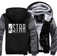 Super Hero The Flash STAR S T A R Labs Sweatshirts Men 2017 Winter Warm Fleece