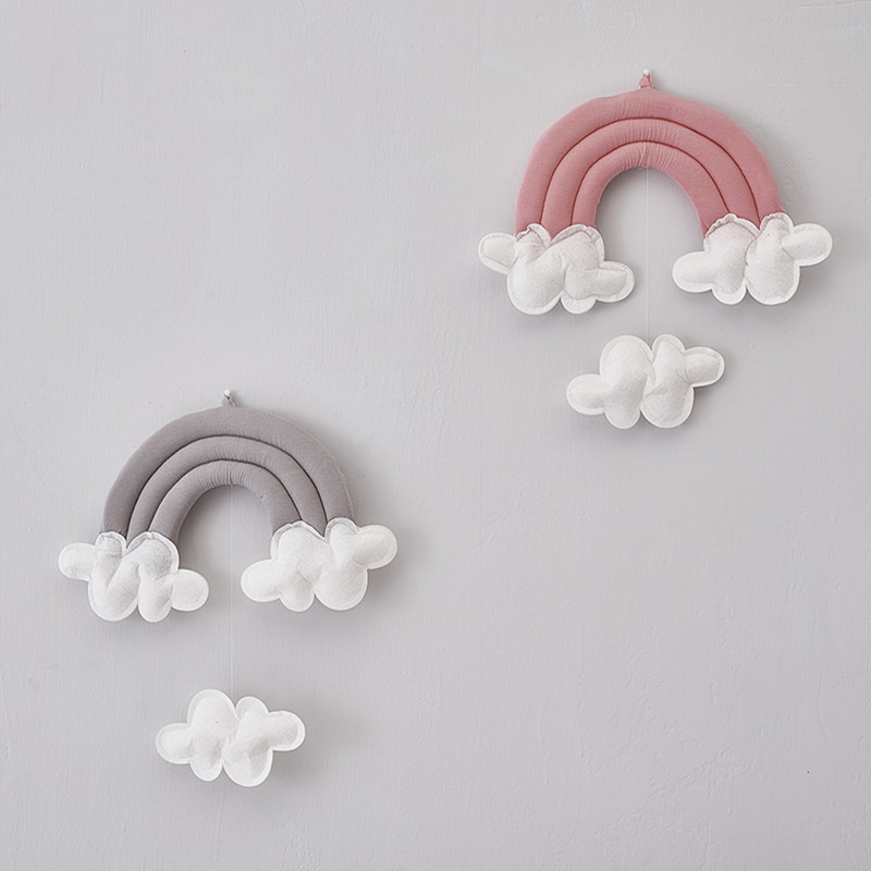 Kids Baby Childrens Room Wall Decoration Rainbow mobile with clouds