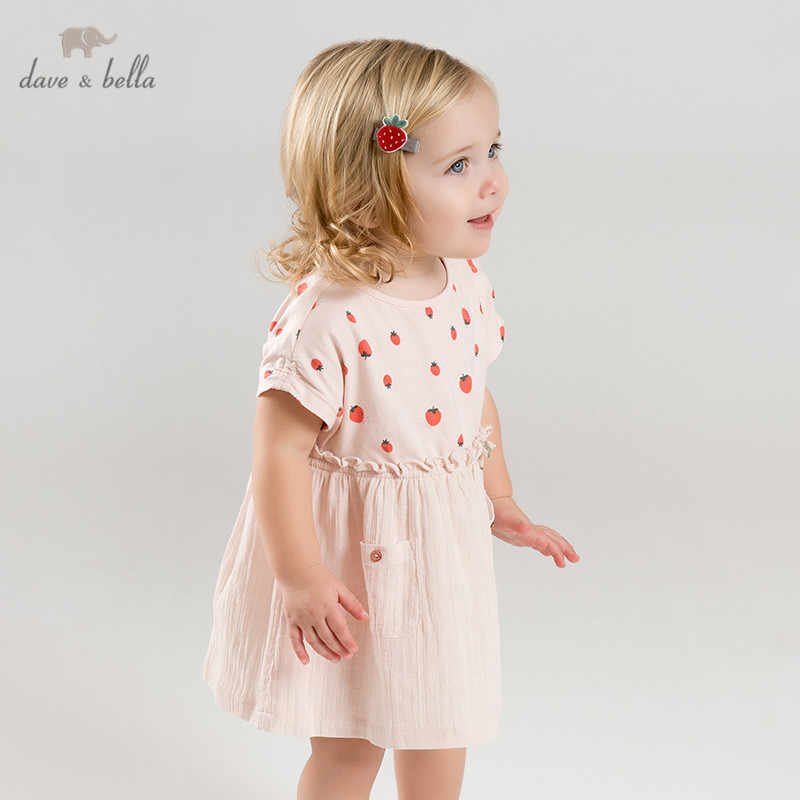 DB9951 dave bella summer baby girl's princess cute bow dress children party dress kids infant strawberry print lolita clothes
