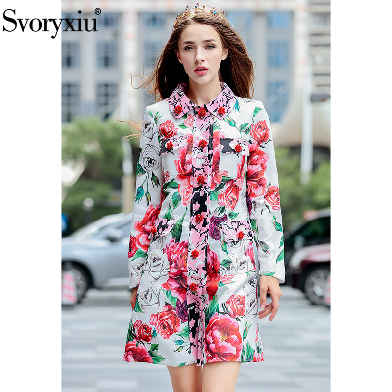 Svoryxiu Winter Runway Custom Peony Flower Printed Long   Trench   Coat Women's Chic Rose Floral Button Slim Overcoat Outwear