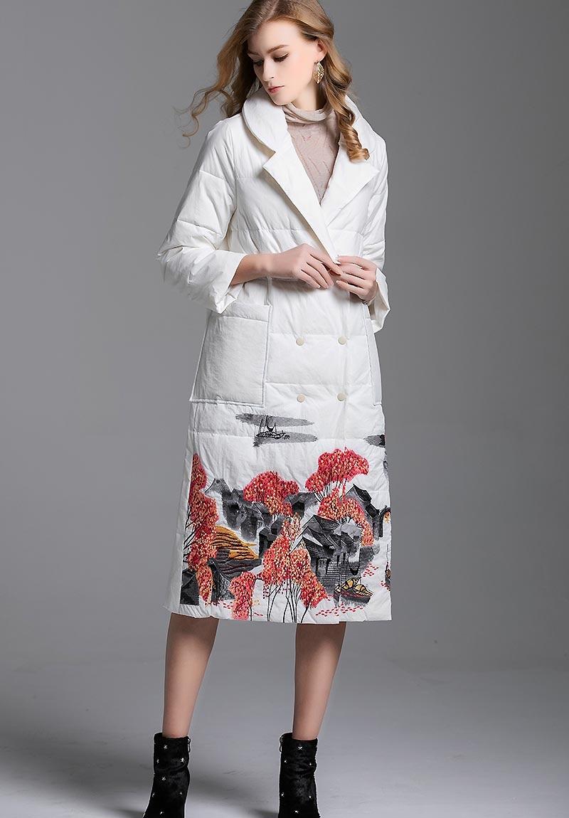 Femelle Veste D'hiver Femmes Parkas blanc Floral De Mince Duvet Vintage Le Noir Manteau Fleurs Léger Vers Bas Blanc Et Canard rouge Broderie Lady 00qvwHA