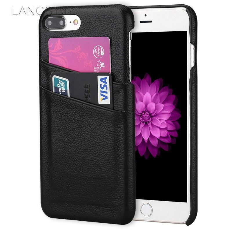 LANGSIDI marque mobile téléphone cas double carte petit litchi cas de couverture arrière cas de téléphone pour iphone X main traitement personnalisé
