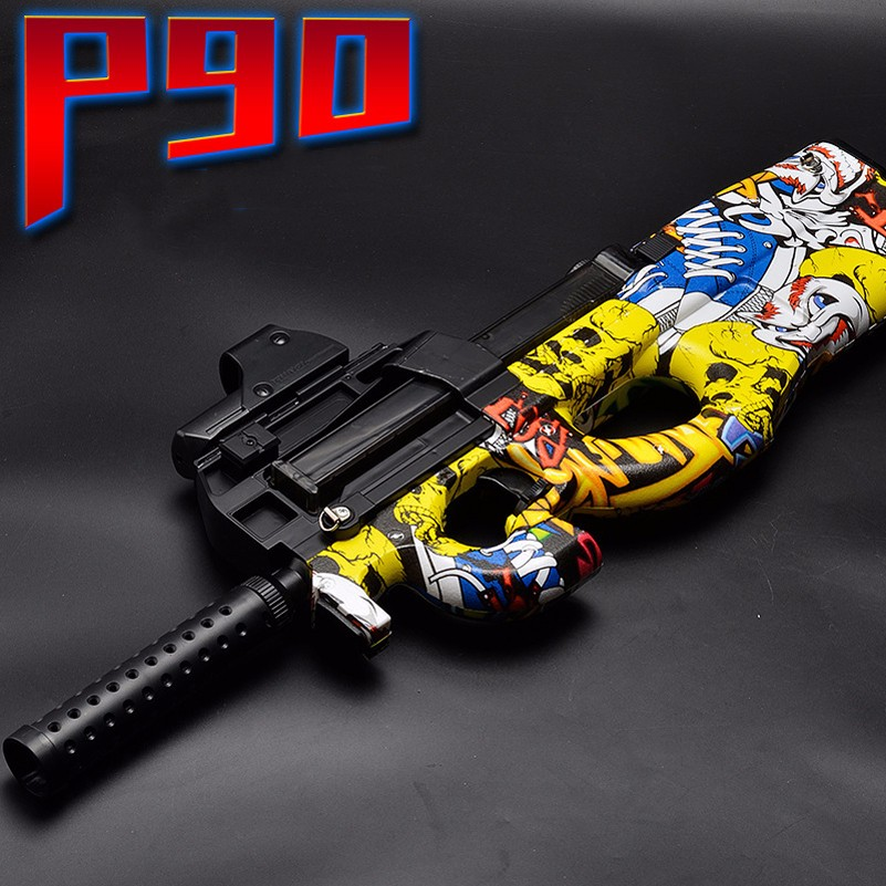 2018 P90 Electric Toy Gun Edition Live CS Assault Snipe Weapon Soft Water Bullet Bursts Gun Funny Outdoors Toys For Kid electric plastic p90 graffiti edition toy gun soft water bullet toy gun outdoors live cs weapon tattoo water gun toys for kids