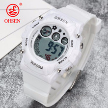 OHSEN Men Sports Watches Casual LED Digital Sport Shock Children's Wristwatches 50M Waterproof Student Outdoor Clock Kids Watch(China)