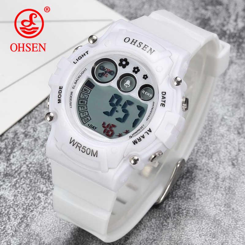 OHSEN Men Sports Watches Casual LED Digital Sport Shock Children's Wristwatches 50M Waterproof Student Outdoor Clock Kids Watch