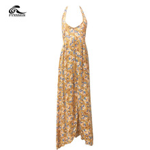 New Women Fashion Dresses Sexy Dress Loose Sleeveless Hollow Out Backless Halter Print Ankle Length Women