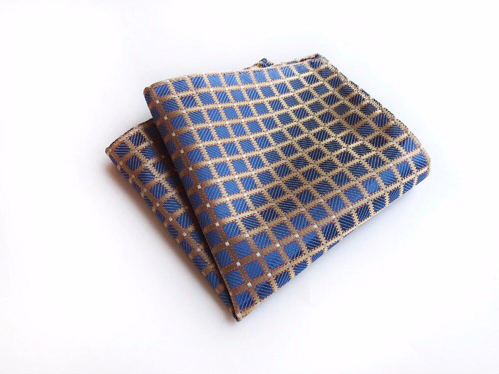 25*25 Cm Grids Plaids Men Silk Satin Pocket Square Handkerchief