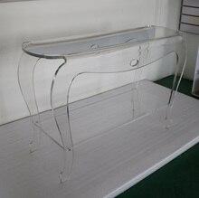 Elegant Clear Acrylic Pedestal Console Tables, Lucite Vanity Desk - 120w-40d-76h cm