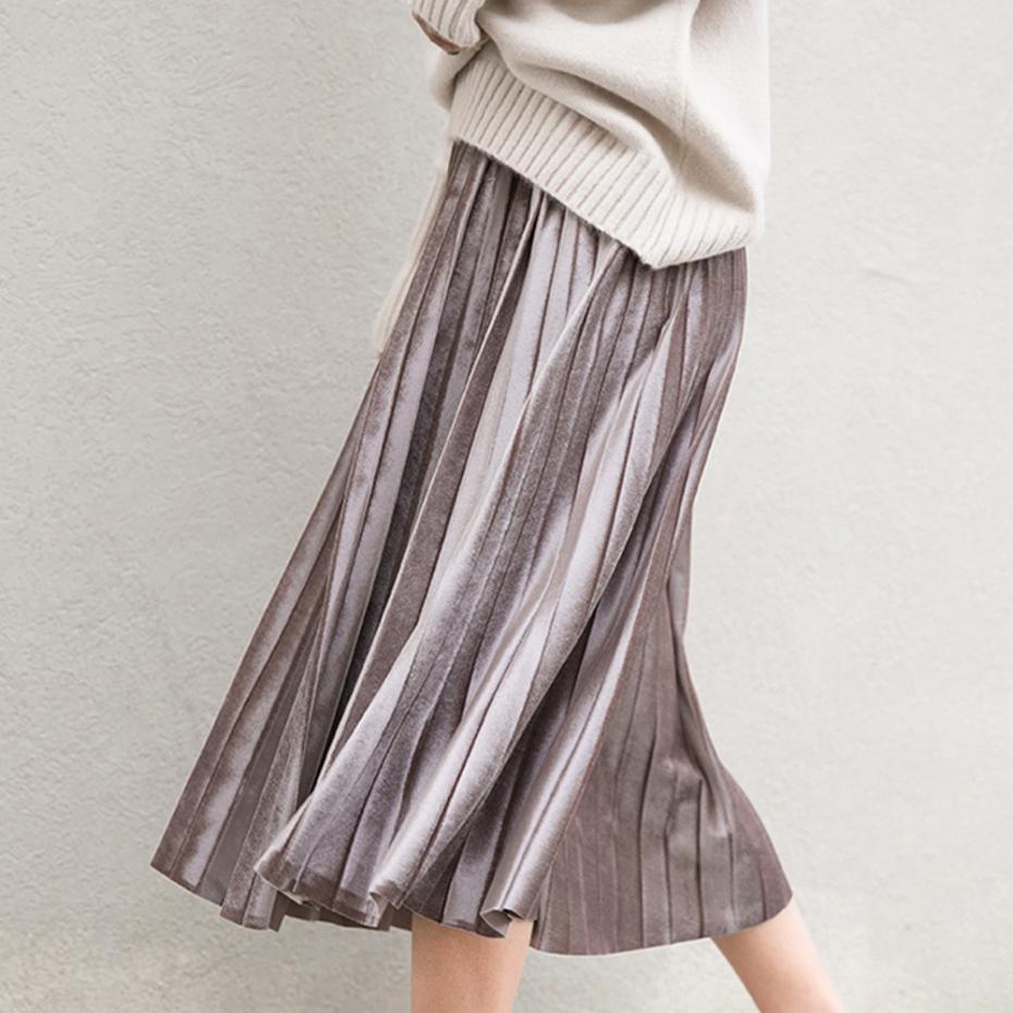 7065041e8 Larga de Lana Harajuku Metálica Unif Evasé Faldas Plisadas Faldas Para  Mujeres de Invierno Gris Negro 6 Colores de Imitación de Gamuza de Alta ...