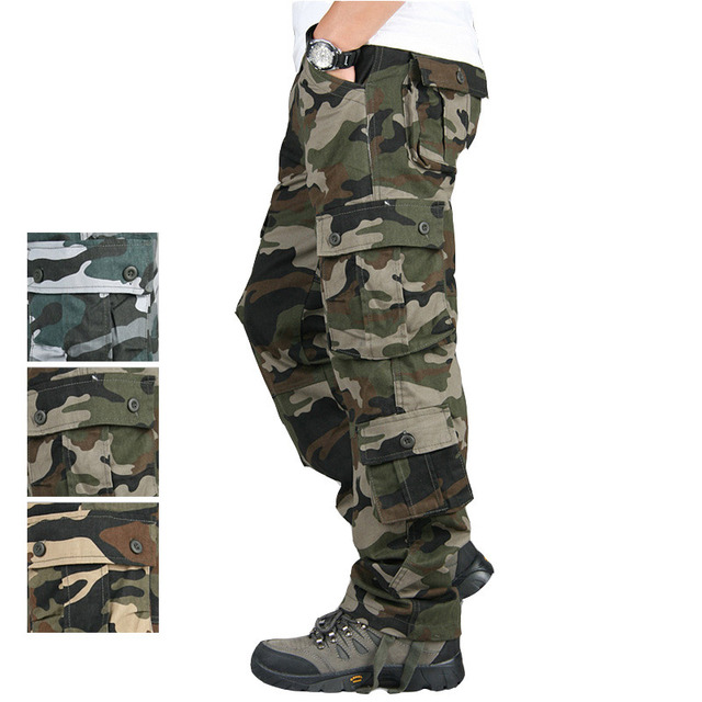 Outono Verão Calças de Camuflagem Militar Homens Do Exército de Algodão Solto Casual Calças Hip Hop Calças de Camuflagem Carga Homens Pantalon Camuflaje