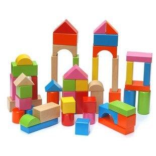 Candice guo! Offre spéciale enfants de couleur vive jouet éducatif en bois bricolage blocs de construction jeu de la petite enfance cadeau enfant 60 pièces/ensemble