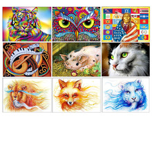 5D DIY Diamond Embroidered Animal Painting Cross Stitch Full Round Embroidery Mosaic