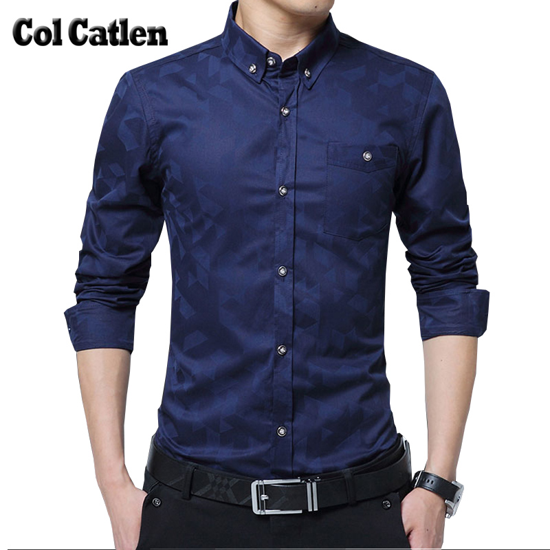New Brand Fashion Men Shirts Casual Slim Fit Mens Shirt Cotton Long Sleeve Dress Official Suit Shirts Man Clothes Large Size