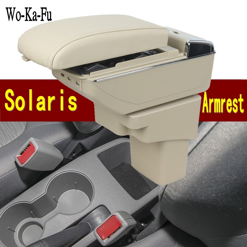 For Hyundai Solaris armrest box central Store content Storage box with cup holder ashtray USB interface