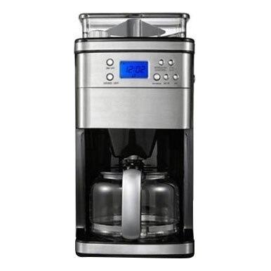 Кофеварка GEMLUX GL-CM-55 (мощность 1050 Вт, емкость 1.8 л, встроенная кофемолка с бункером на 240 г, регулируемая крепость кофе, подогрев готового напитка, задержка старта, нерж.сталь)