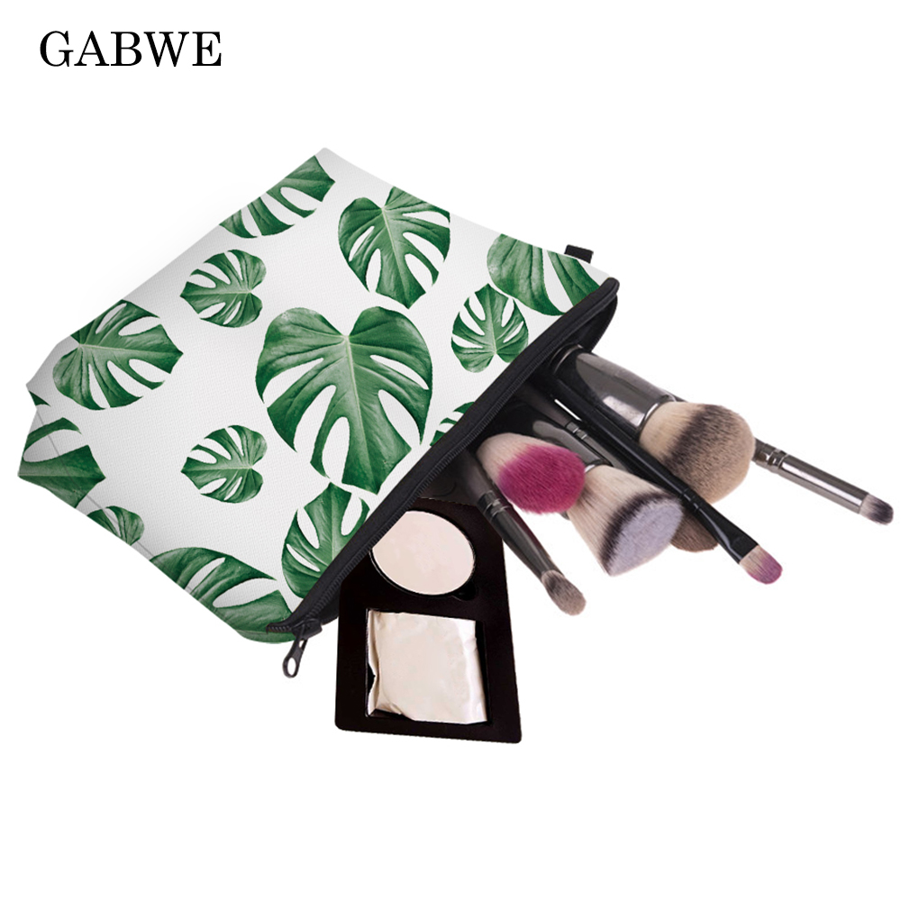 GABWE Fashion Style Tropical Palm Green Leaves Printed Fresh Makeup Bag Cosmetic Case For Women Kosmetyczka Neceser Maquillaje