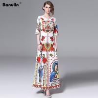 2019 Summer Style Women Dress High Quality Fashion Runway Dresses Short Sleeve Floor Length Baroque Print Vintage Retro Dresses