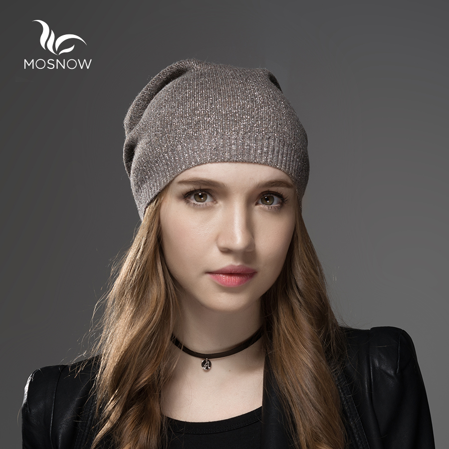 Mosnow Wool Cashmere Winter Hats For Women High Quality Warm Women S Brand Casual Knitted Vogue