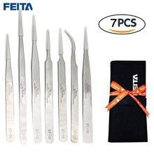 Feita 7 шт набор пинцетов для электроники esd нержавеющая сталь