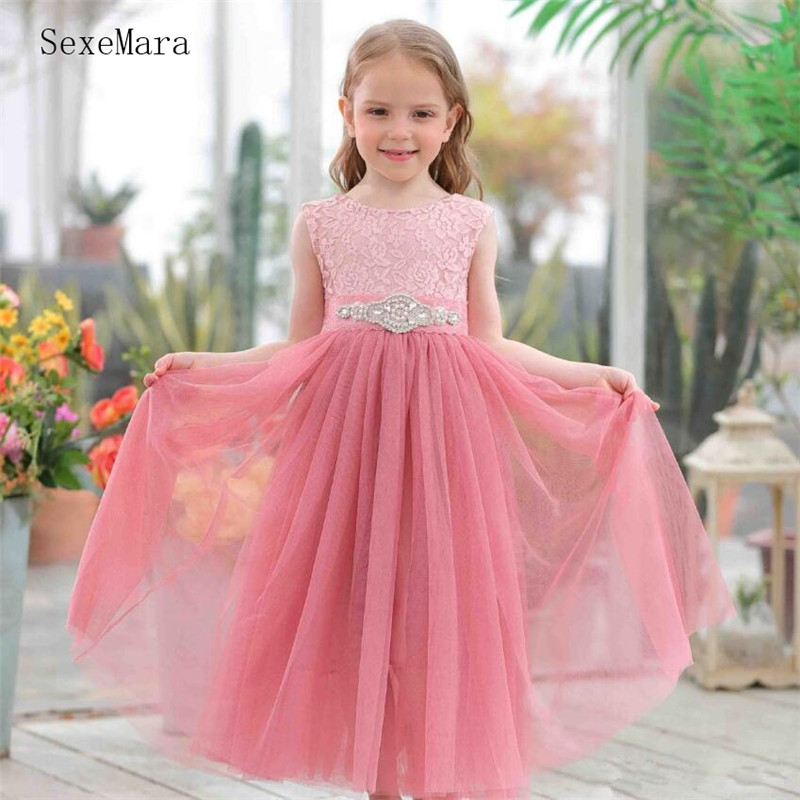 New Long A-Line Princess Dress with Crystal Belt Bow Open Back Cheap Tulle Flower Girl Dress For Wedding Kids Formal Party Gowns