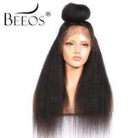 BEEOS Kinky Straight Full Lace Human Hair Wigs Pre Plucked Bleached Knots Non Remy Brazilian Hair Lace Wigs With Baby Hair