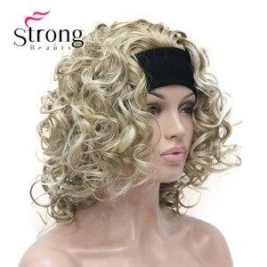 Image 2 - הבהרה בלונד קצר 3/4 נשים של סינטטי פאות פאה מתולתל שיער חתיכה עם סרט צבע אפשרויות