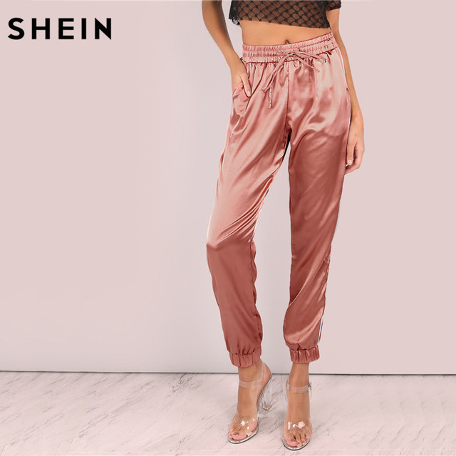 ba9f12c0ad82 SHEIN Mid Waist Pants Women Satin Luxe Trainer Joggers Drawstring Waist  Casual Trousers Women Loose Sweatpants