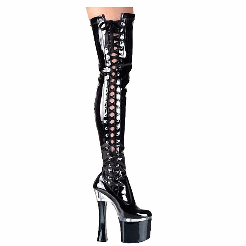 купить Platform Thigh Long Boots Women Shoes 18cm High Heels Boots Fashion Over Knee Fenty Beauty Boots Ladies Gothic Shoes Big Size 46