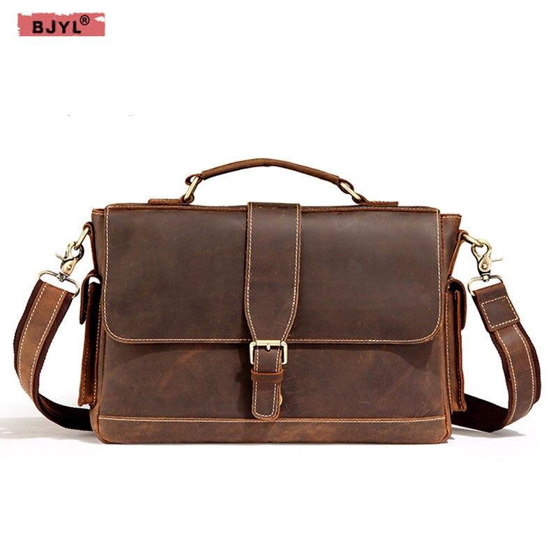 BJYL Vintage Men Handbags Wanderers Marble Messenger Bag Male Shoulder Bag Men 's Genuine Leather Business Briefcase все цены