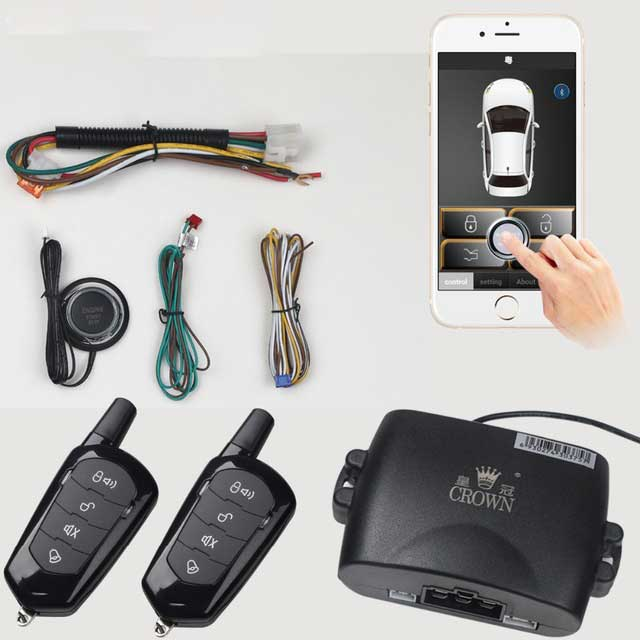 Mobile Phone Remote Start Car Alarm System With 2-Remote Control 80-100M Shake Switch Lock Keyless Entry PKE  Start Stop