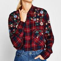2017 Za Women Foral OYK8190 Embroideried Red Blouses Plaid Shirt Cotton Womens Camisa Loose Blusas Feminina