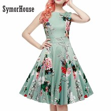 Women Retro Dress Rockabilly Hepburn Floral Print Party Prom Cocktail Cotton Vintage A Line Swing Belts Feminino Vestidos