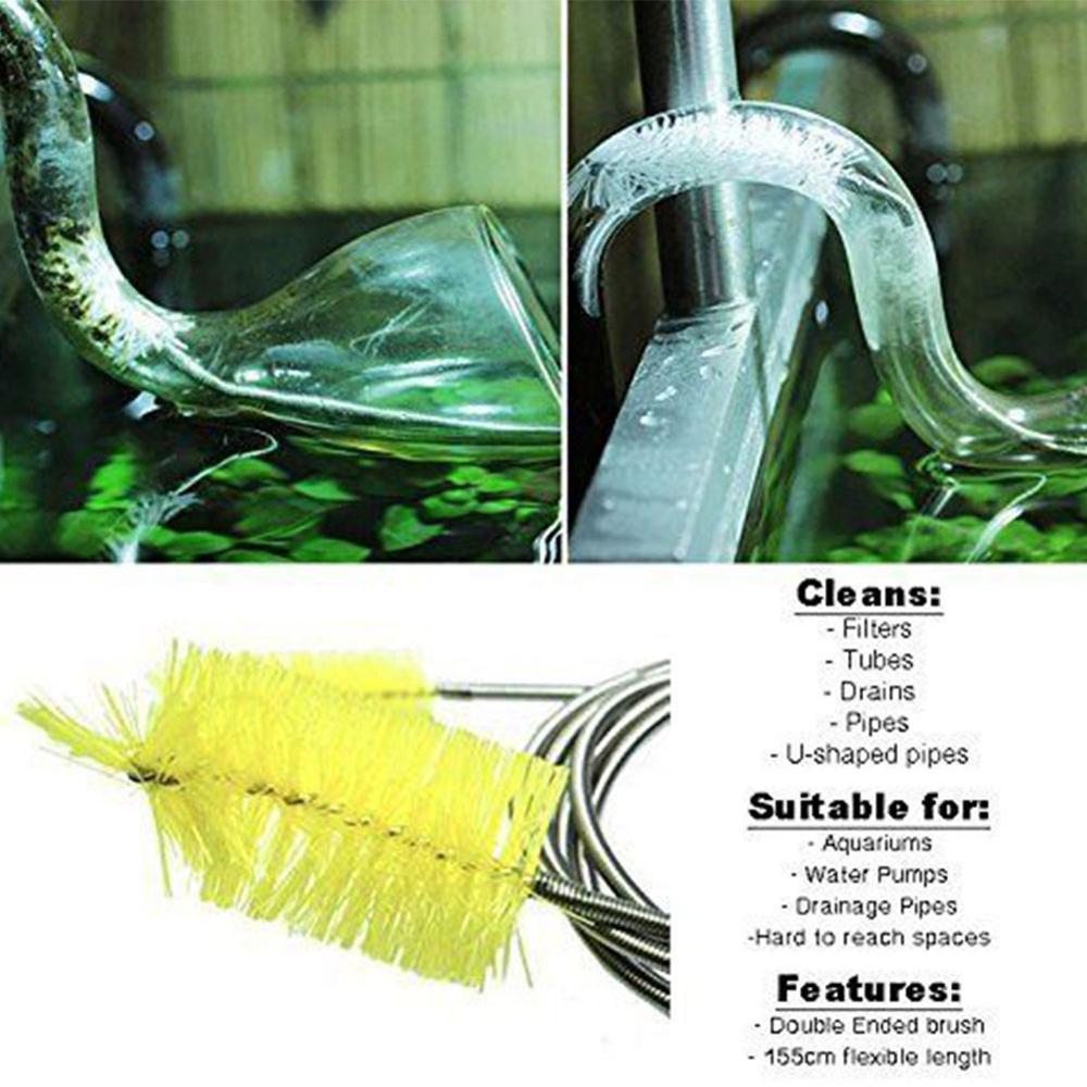 Image 3 - 90/155/200cm escova de limpeza da tubulação tubo de ar flexível  dupla terminou mangueira acessórios do aquário filtro de água líquido de  limpeza náilonFerramentas de limpeza