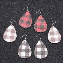 hot deal buy fostfo 2019 new buffalo plaid leather earrings for women fashion statement teardrop leaf plaid earring leather jewelry wholesale