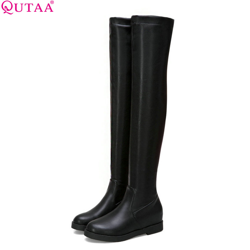 QUTAA 2019 Pu Leather Women Over The Knee High Boots Fashion Women Shoes Winter Boots Round Toe Casual Women Boots Size 34-43 top luxury crystal glass 3 gangs 1 way purple touch light wall switch waterproof led touch switch fee oem free shipping