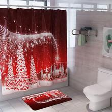FENGRISE Flannel Shower Curtain Merry Christmas Door Mat Christmas Decoration for Home Christmas Ornaments 2019 Xmas New Year